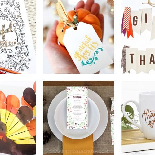 13 Thanksgiving party ideas and fun printables to enjoy with your family!!! You'll love these banners, games for kids, cut files, place setting ideas, and more!