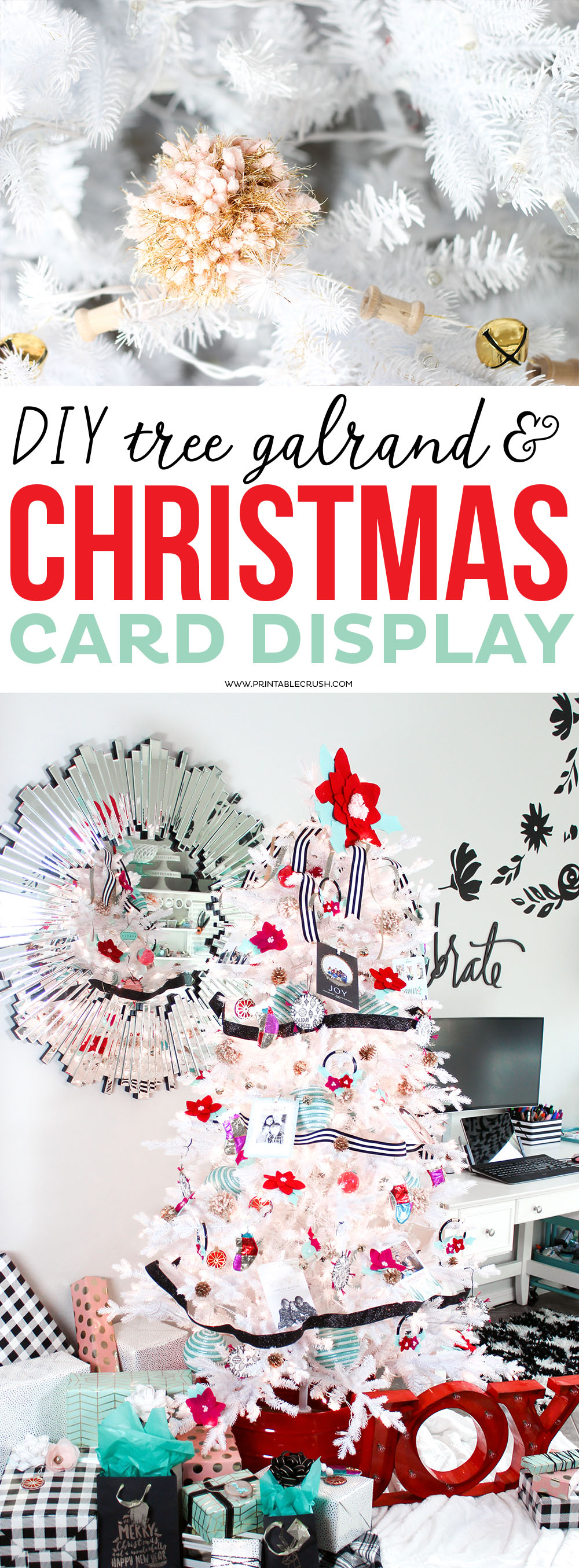 Diy Tree Garland Christmas Card Display Printable Crush