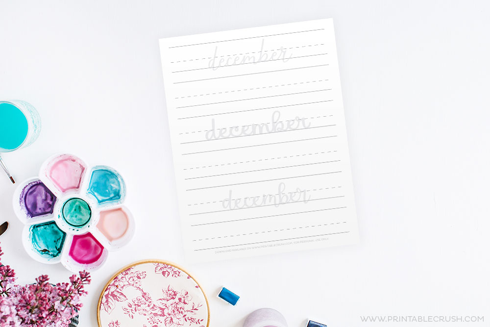 December Hand Lettering Prompts