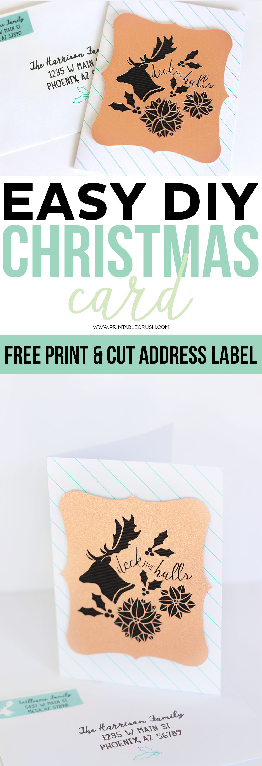 This Easy DIY Christmas Card Tutorial Also Comes With A FREE Printable  Address Label! You  Printable Address Labels Free