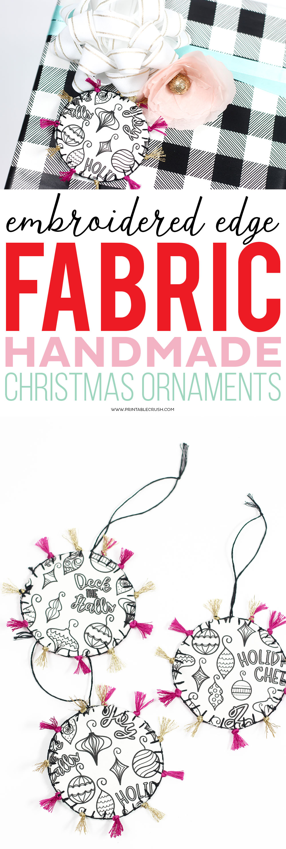 These Fabric Handmade Christmas Ornaments and gift tags are adorable! Learn how to give them an embroidered edge. They're incredibly easy to make!