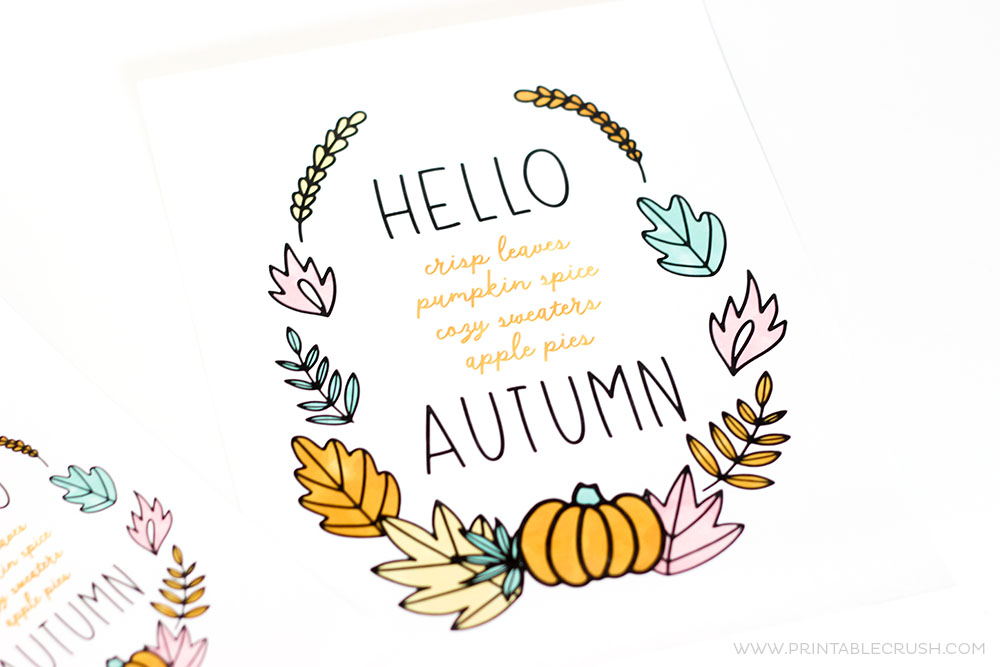 This FREE Hello Autumn Printable Wall Art Will Be A Gorgeous New Addition  To Your Home