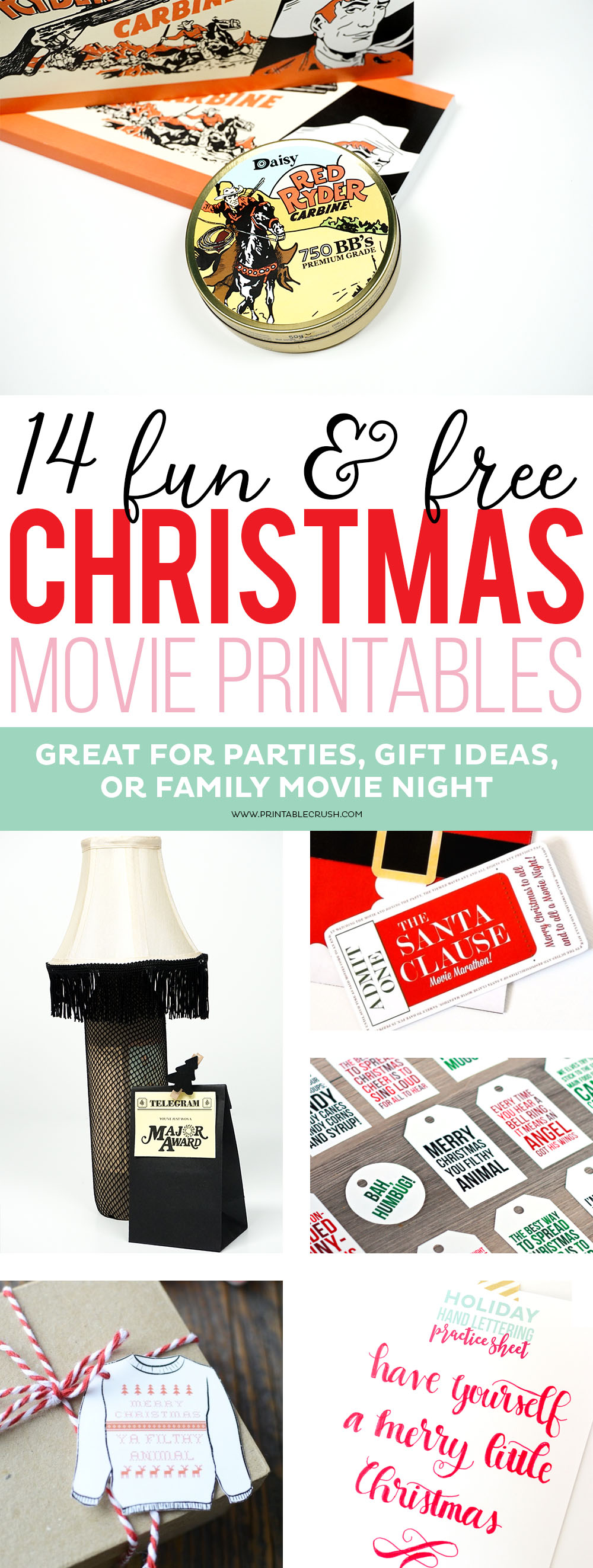 These FREE Christmas Movie Printables are great for parties, gift ideas, or family movie night! You'll find ideas for gift baskets, simple treats, or even full-blown parties!
