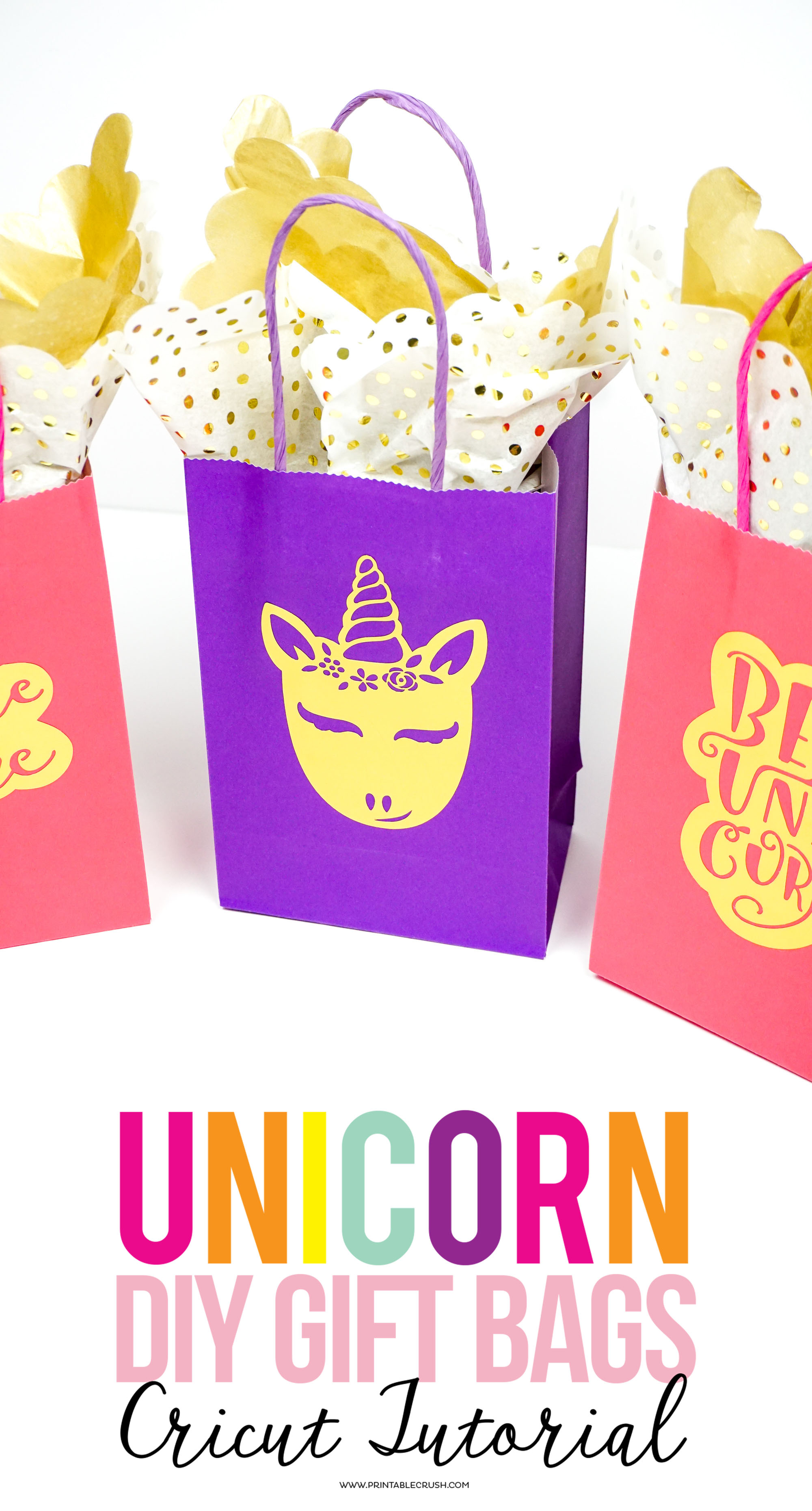 These Gold Foil DIY Unicorn Gift Bags add a personal touch to birthday parties. Use them for party favors, teacher gifts, birthday gifts, and more!