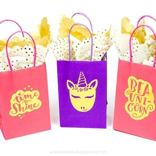 I love these adorable DIY Gift Bags with Unicorn Graphics. They're the easiest way to customize a birthday party favor bag!