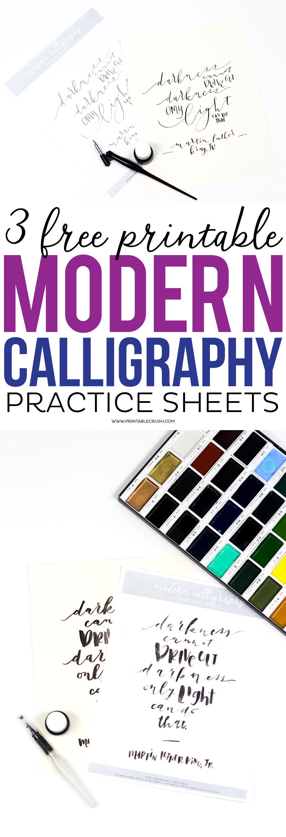 Free printable modern calligraphy practice sheets