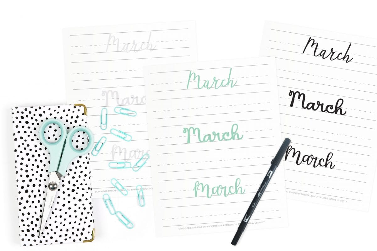 March Hand Lettering Prompts
