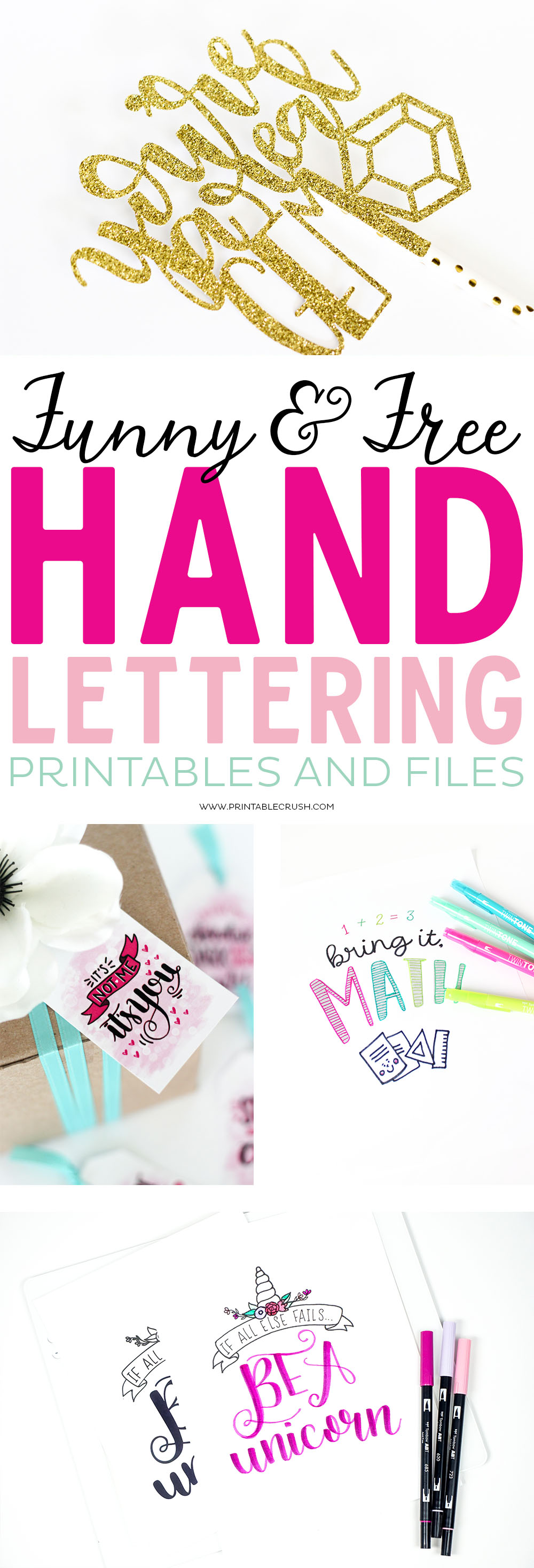 If you love lettering and you have a sense of humor, you'll love these 8 FREE Funny Hand Lettering Printables and Files. You'll find letteringpractice sheets, SVG Files, free printables, and more!