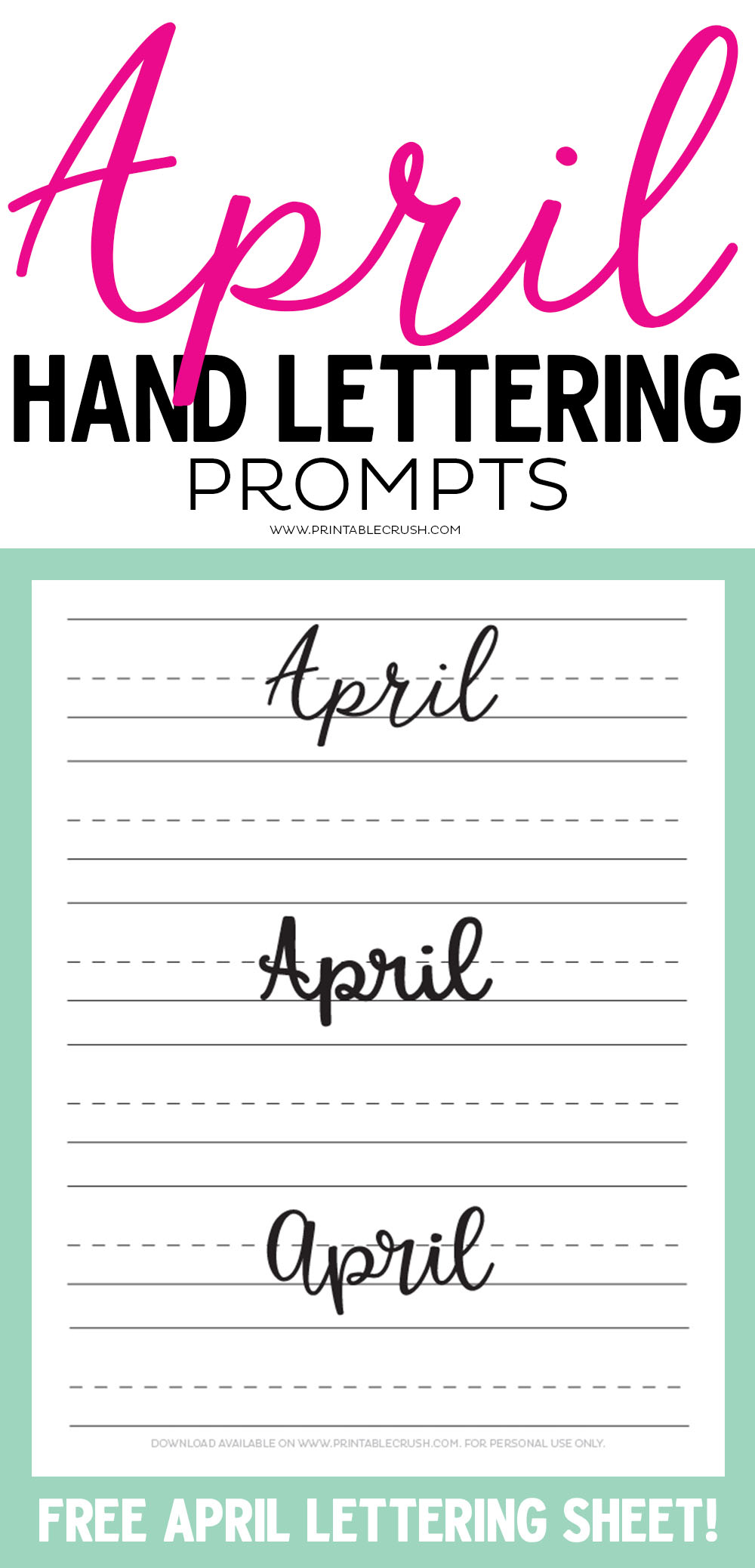 Get 30 April Hand Lettering Prompts plus a FREE practice sheet in this blog series to improve your hand lettering skills. Plus, learn how you can get 30 days of APRIL lettering worksheets!