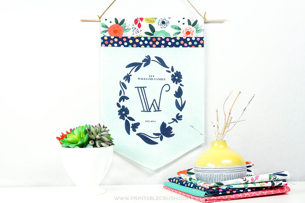 Create these gorgeous pennants with free monogram printables and Terial Magic Fabric Stabilizer. Print these off at home write on the fabric!
