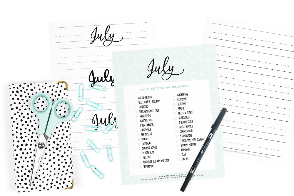 July Hand Lettering Prompts Printable Crush