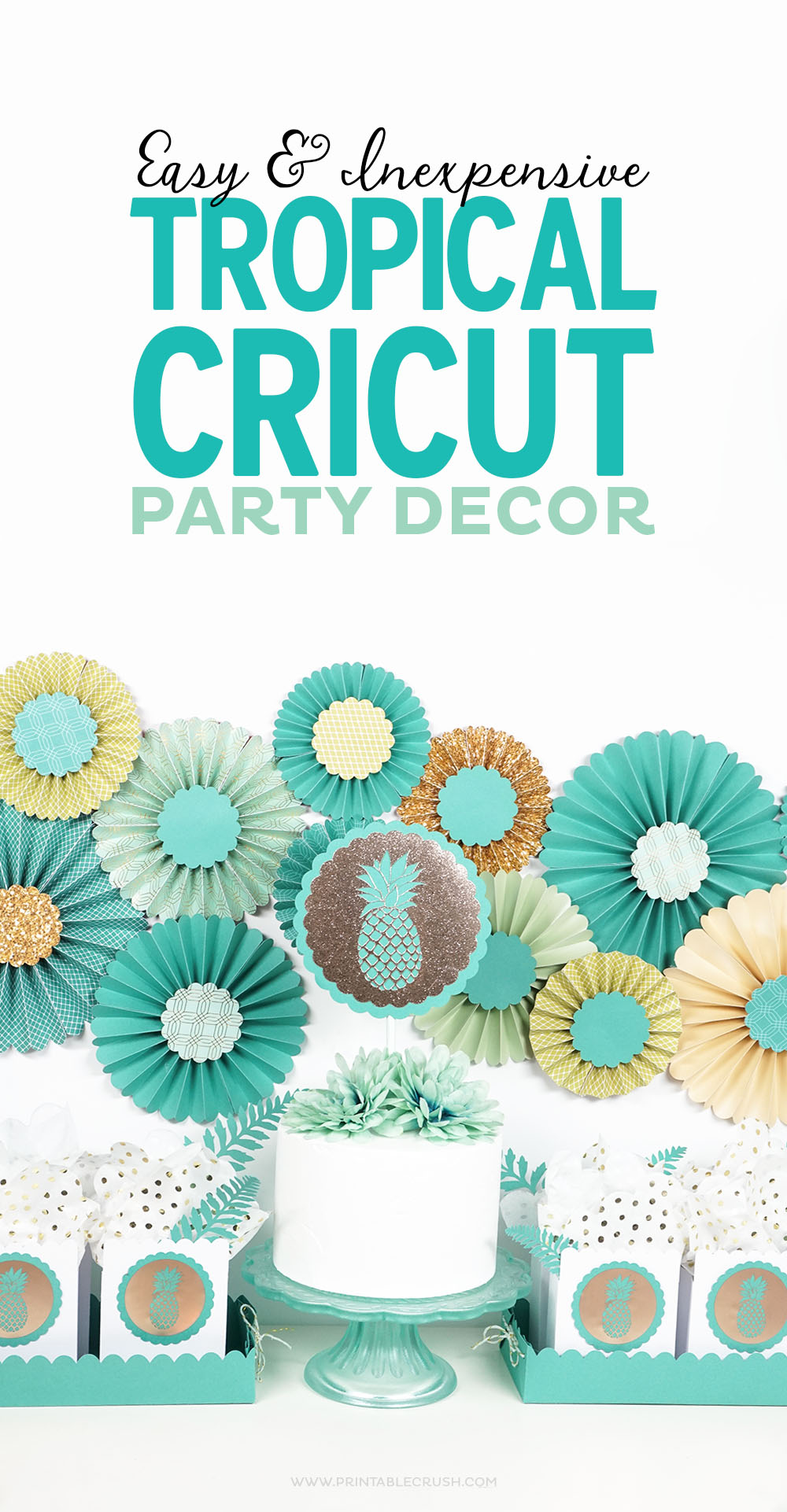 With the purchase of the new Martha Stewart Cricut® Explore Air™ 2 Special Edition, you'll get some gorgeous Tropical Cricut Party Decor graphics!